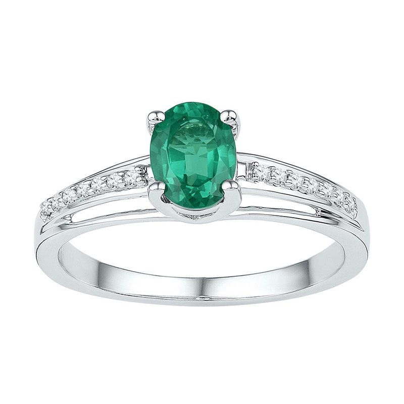 Gold-N-Diamonds, Inc. (Atlanta) Sterling Silver Womens Oval Lab-Created Emerald Solitaire Diamond Ring 1/2 Cttw