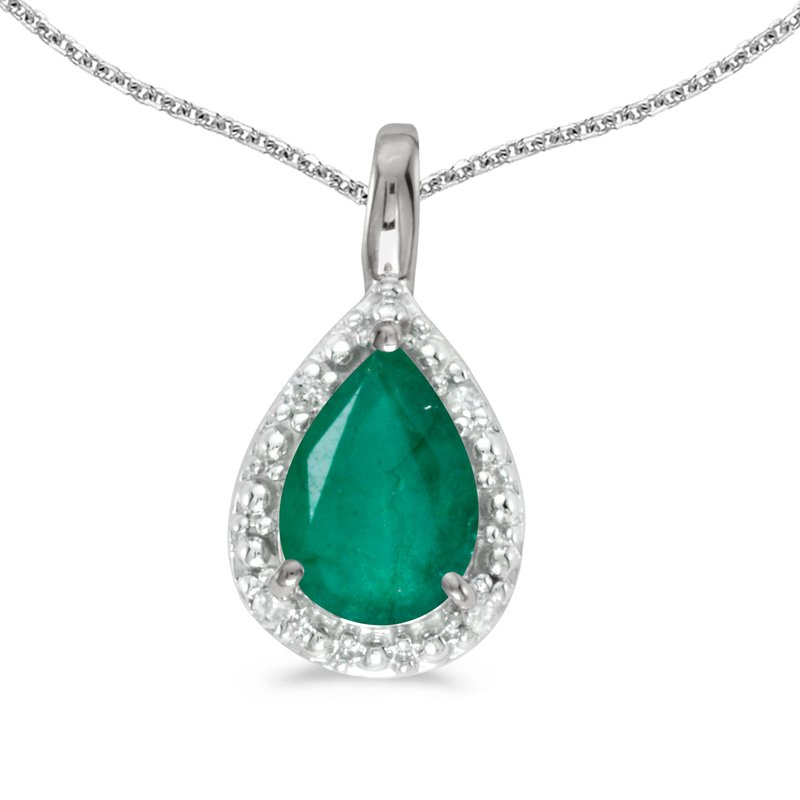 Color Merchants 14k White Gold Pear Emerald Pendant