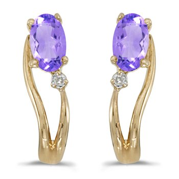 14k Yellow Gold Oval Tanzanite And Diamond Wave Earrings
