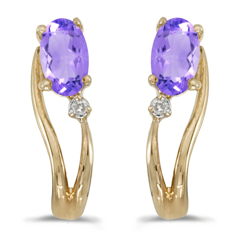 Color Merchants 14k Yellow Gold Oval Tanzanite And Diamond Wave Earrings