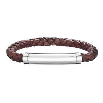 Sterling Silver Men's Leather Bar Bracelet With Blue Saphire