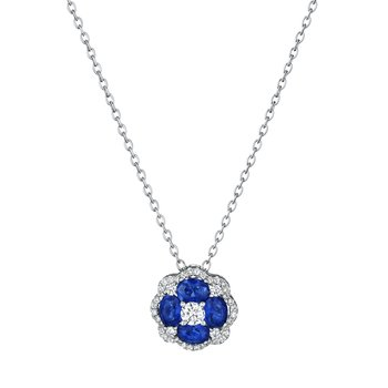 All I Adore Sapphire and Diamond Cluster Pendant