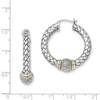 Sterling Silver w/14k Diamond Hoop Earrings
