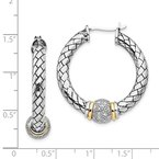 Shey Couture Sterling Silver w/14k Diamond Hoop Earrings