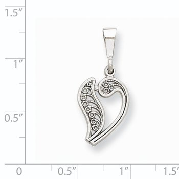 14KW White Gold Solid Polished Script Filigree Letter V Initial Pendant