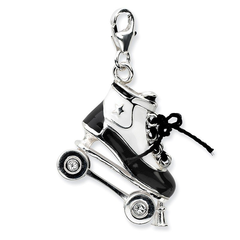 Quality Gold Sterling Silver 3-D Enameled Roller Skatew/Lobster Clasp Charm