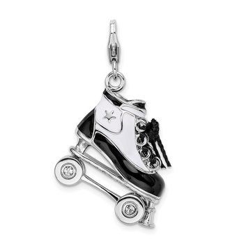 Sterling Silver RH 3-D Enameled Roller Skate w/Lobster Clasp Charm