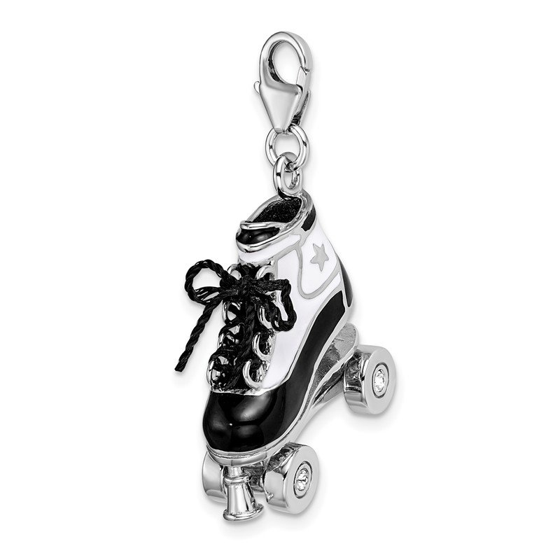 Quality Gold Sterling Silver RH 3-D Enameled Roller Skate w/Lobster Clasp Charm
