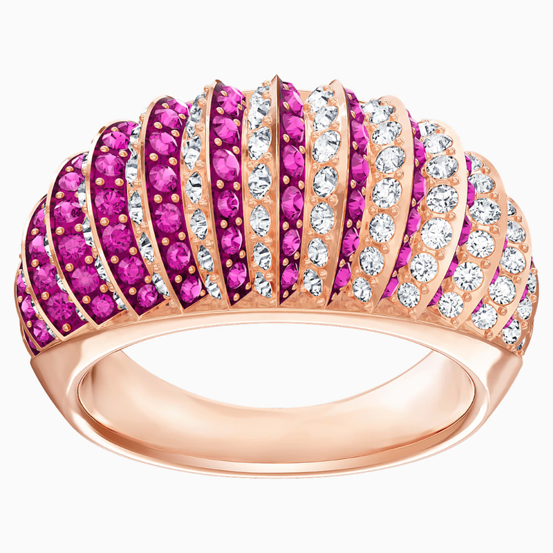 Swarovski Luxury Domed Ring, Pink, Rose-gold tone plated