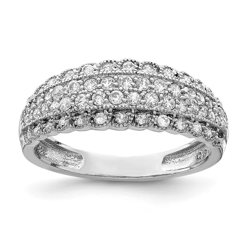 Quality Gold Sterling Silver Rhodium-plated CZ Dome Ring
