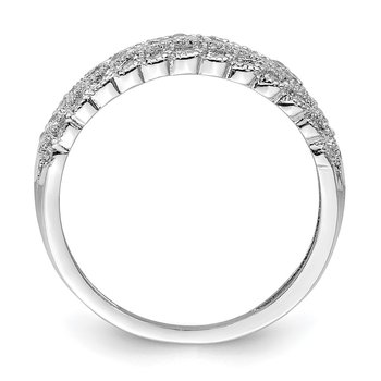 Sterling Silver Rhodium-plated CZ Dome Ring
