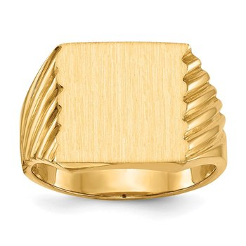 14k 13.0x13.0mm Closed Back Men's Signet Ring