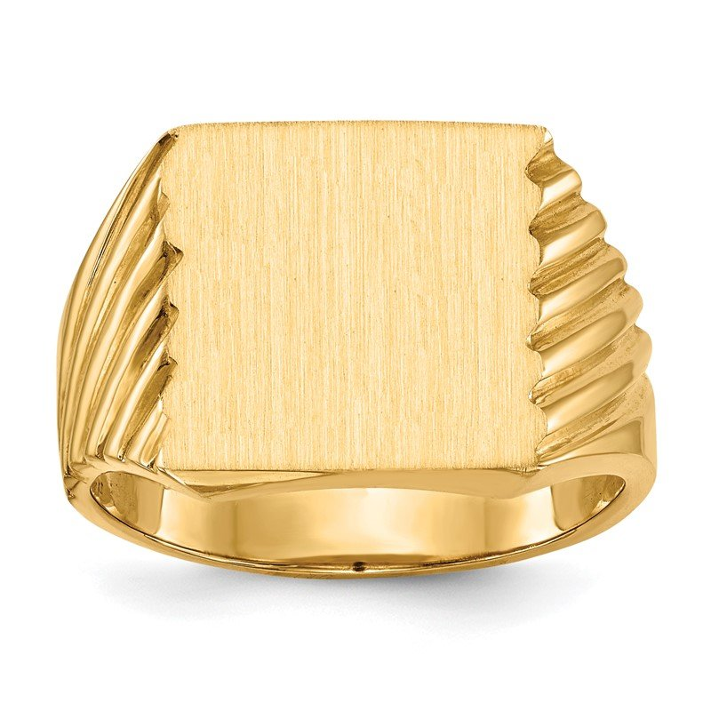 Quality Gold 14k 13.0x13.0mm Closed Back Men's Signet Ring