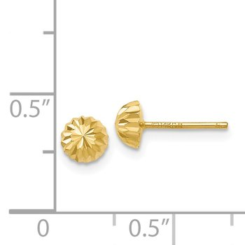 14k Gold Diamond-cut 5mm Domed Post Earrings