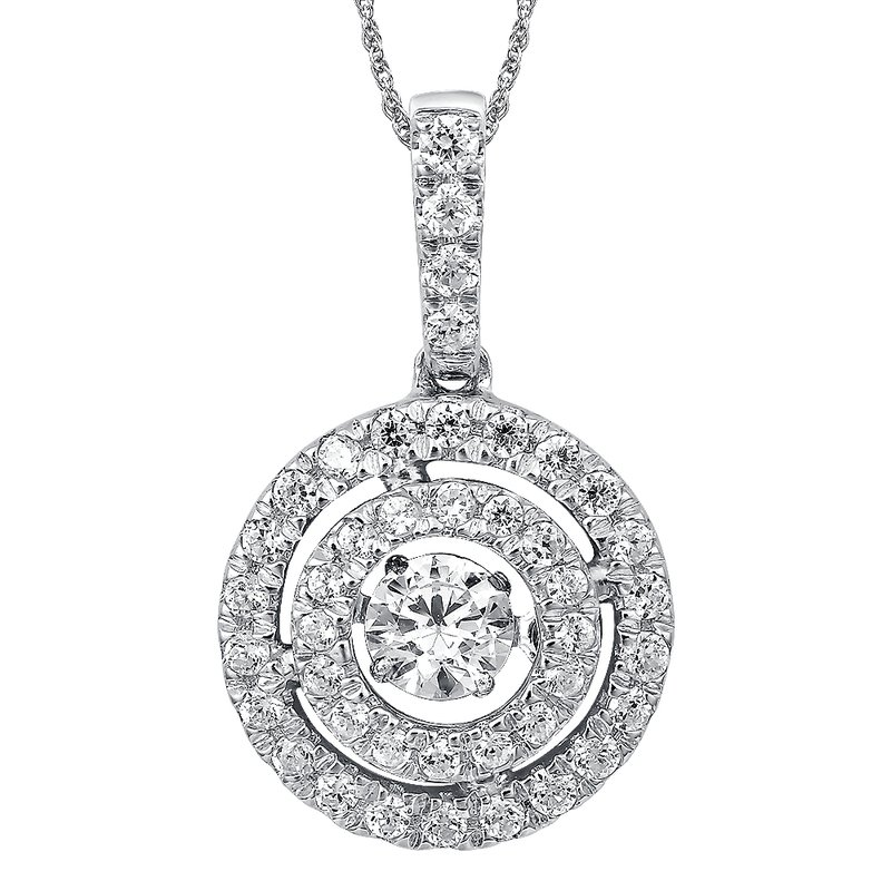 SDC Creations Dancing Diamond Round Halo Pendant in 14K White Gold  with Chain