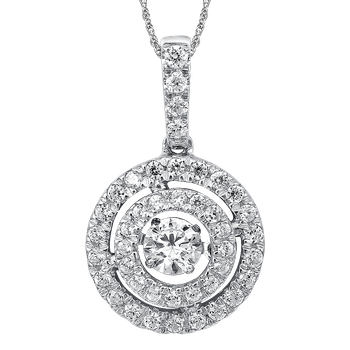 Dancing Diamond Round Halo Pendant in 14K White Gold  with Chain