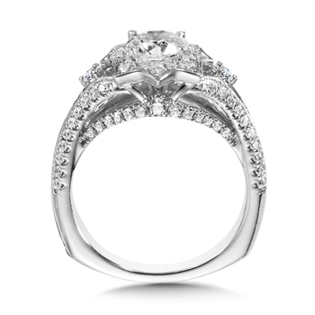 Diamond Halo Engagement Ring Mounting in 14K White Gold (0.76 ct. tw.)