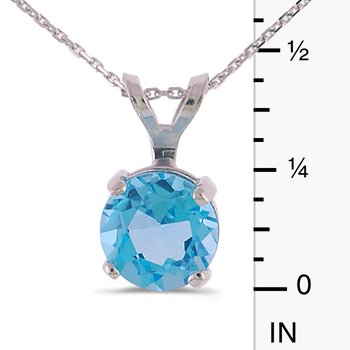 14k White Gold 6mm Round Blue Topaz Stud Pendant (1.00 ct)