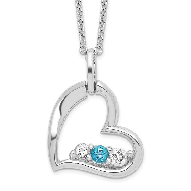 Quality Gold Sterling Silver Survivor Clear & Blue Swarovski Topaz Heart Strength Neckla