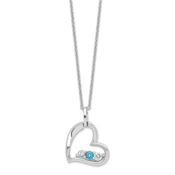 Sterling Silver Survivor Clear & Blue Swarovski Topaz Heart Strength Neckla