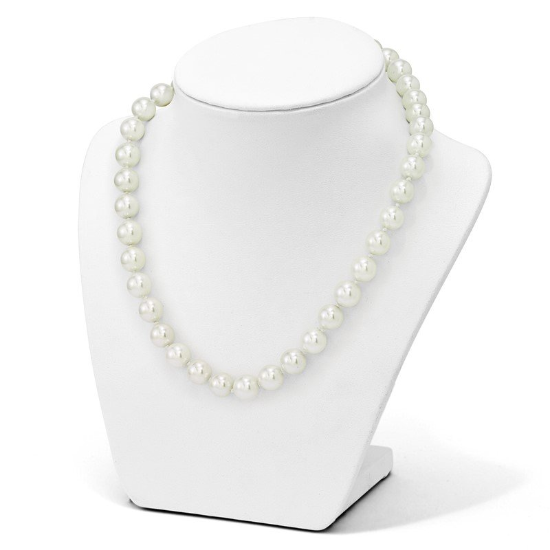 Sterling Silver Majestik Rh-pl 10-11mm Imitation Shell Pearl Necklace