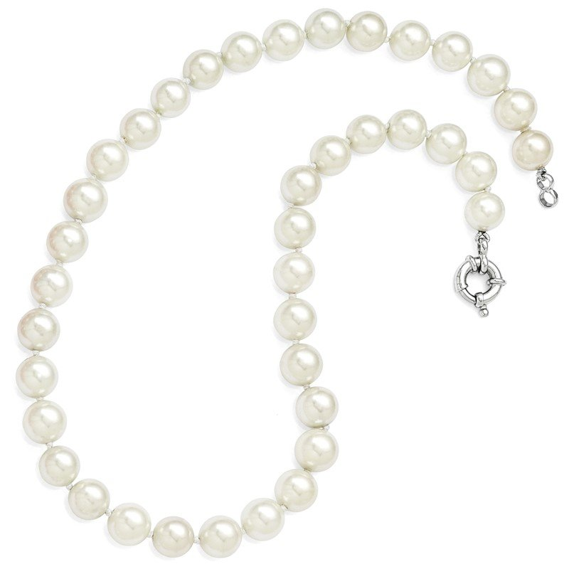 Quality Gold Sterling Silver Majestik Rh-pl 10-11mm Imitation Shell Pearl Necklace