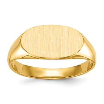 14k 6.25x11.5mm Closed Back Children's Signet Ring