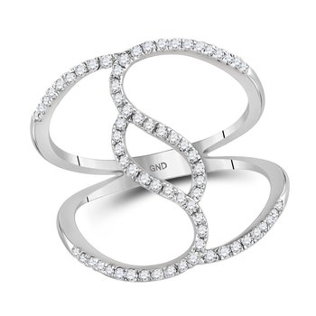 10kt White Gold Womens Round Diamond Open Strand Wide Band Ring 1/3 Cttw
