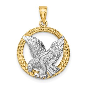 14K w/Rhodium Eagle Pendant