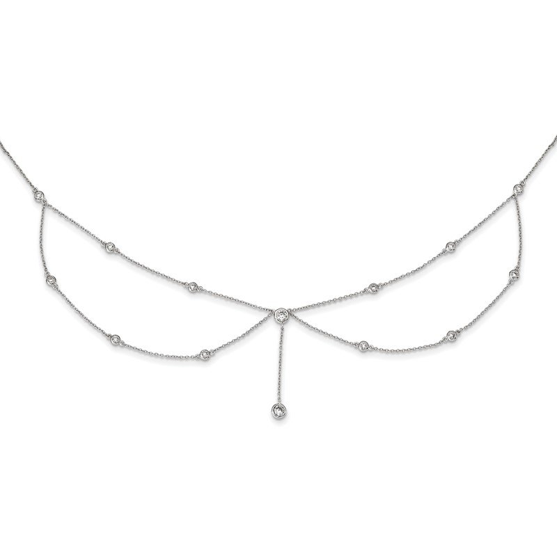 Quality Gold Sterling Silver Rhodium-plated Draped CZ w/4in ext Choker Necklace