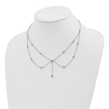 Sterling Silver Rhodium-plated Draped CZ w/4in ext Choker Necklace