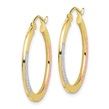 10K White & Rose Rhodium D/C 2.5x25mm Hoop Earrings