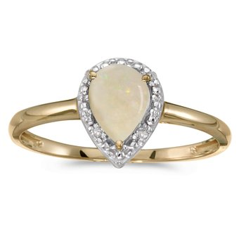 10k Yellow Gold Pear Opal And Diamond Ring