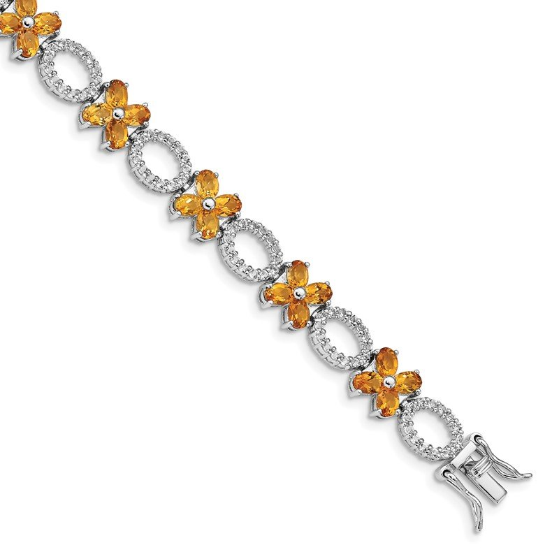 Quality Gold Sterling Silver Rhodium-plated Citrine Flower w/Wht.Topaz Bracelet