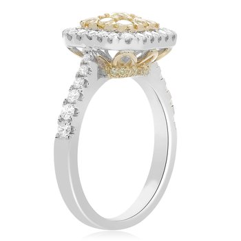 Pave Shank Square Diamond Ring