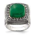 Quality Gold Sterling Silver w/14k Green Onyx Ring
