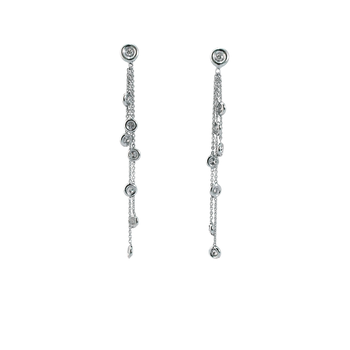 18KT GOLD DIAMOND STATION DANGLING EARRINGS