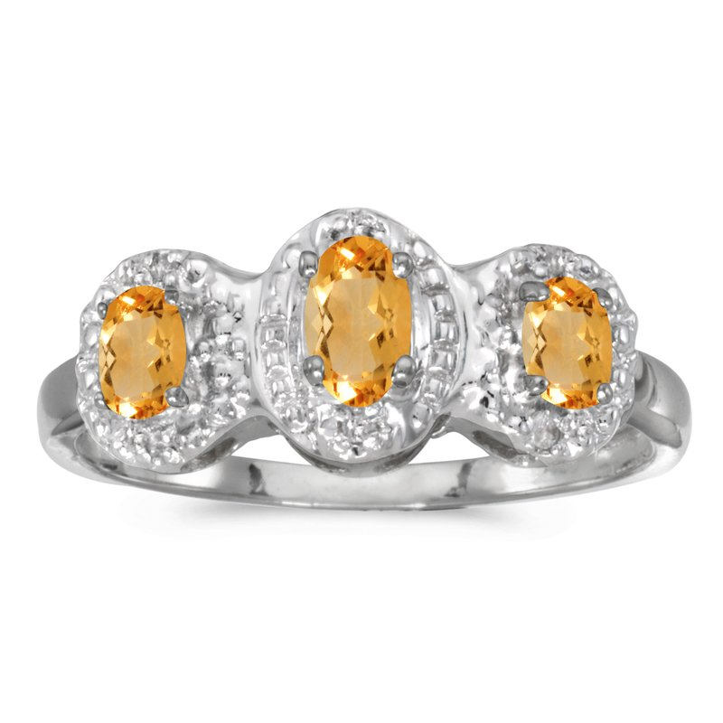 Color Merchants 14k White Gold Oval Citrine And Diamond Three Stone Ring