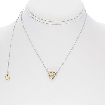 Heartshaped Diamond Cluster Necklace