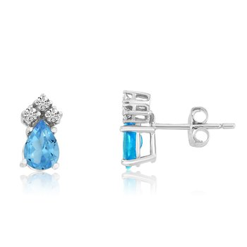 14k White Gold Blue Topaz Pear Earrings with Diamonds