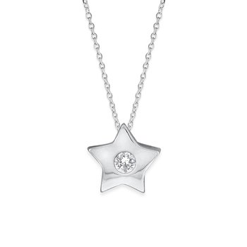 Diamond Star Necklace in 14K White Gold with 1 Diamond Weighing .05ct tw.