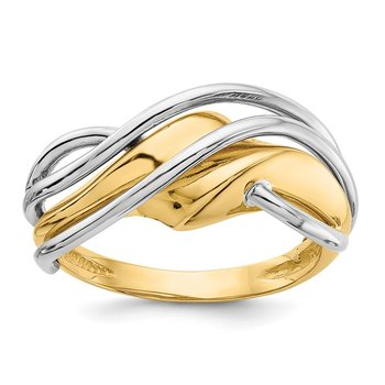 14k Two-tone Wave Ring