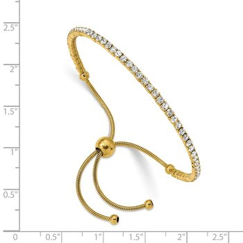 Stainless Steel Polished Yellow IP-plated Preciosa Crystal Adj. Bracelet
