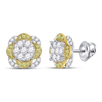 14kt White Gold Womens Round Yellow Diamond Flower Cluster Earrings 5/8 Cttw