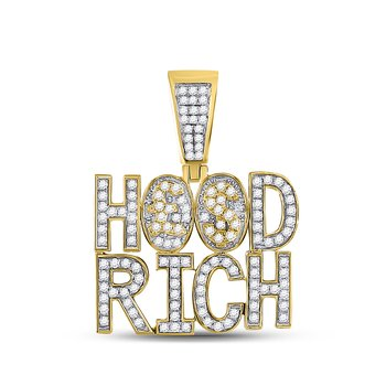 10kt Yellow Gold Mens Round Diamond Hood Rich Charm Pendant 1-3/4 Cttw