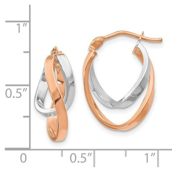 Leslie's 14K Rose & White Gold Polished Hinged Hoop Earrings