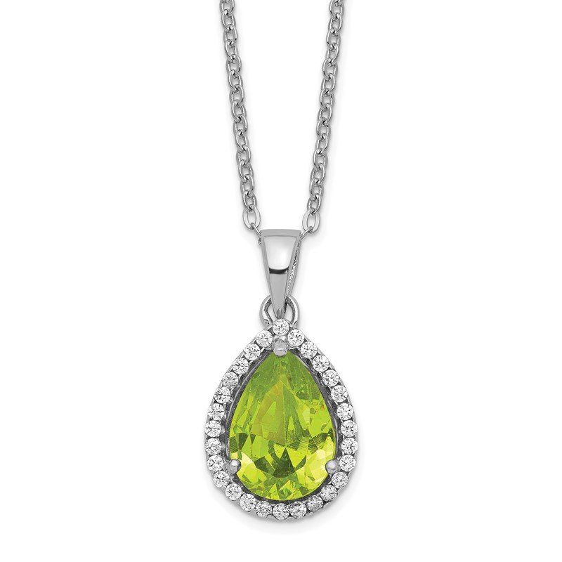 Quality Gold Sterling Silver Rhodium Polished Simulated Peridot & CZ Necklace