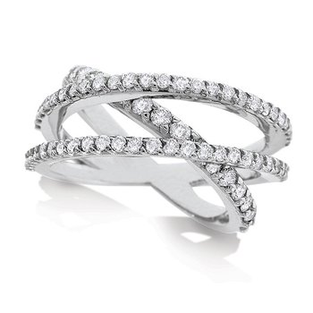 Diamond Roller Coaster Ring in 14K White Gold with 69 Diamonds Weighing 1.15ct tw