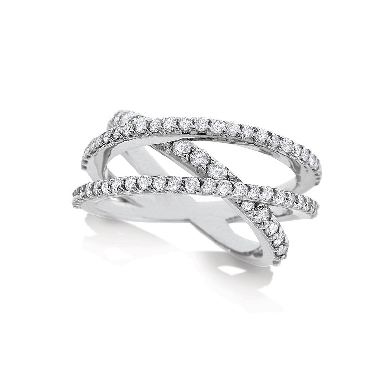 KC Designs Diamond Roller Coaster Ring in 14K White Gold with 69 Diamonds Weighing 1.15ct tw