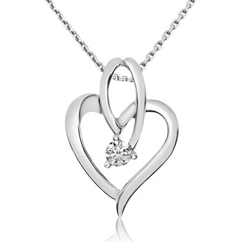 14k White Gold Flowing Diamond Heart Pendant